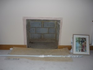 Preparing for large fireplace installation in Surrey