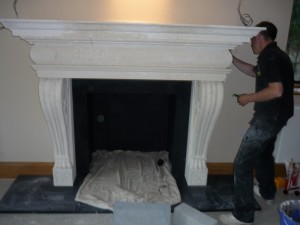 Huge shelf added for large fireplace installation in Surrey