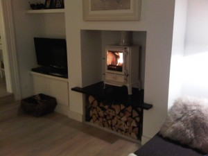 Brunel 2cb stove installation in ivory by Stovax
