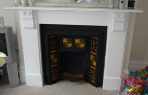 Before installation of classic limestone fire surround