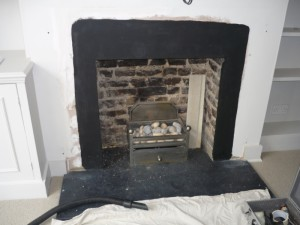 Before hole in the wall fireplace was fitted
