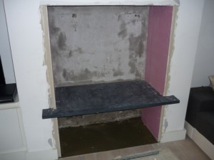 Fitting of slate shelf for Brunel 2CB stove installation