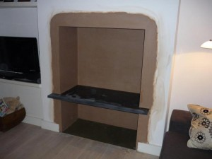 Slate shelf fitted for Brunel 2CB stove installation