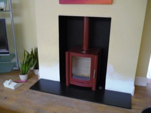 Firebelly stove installation in Mojave Red in Wandsworth