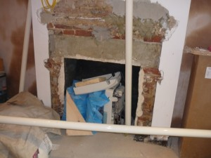 Before Limestone Fireplace With Polished Basket installation