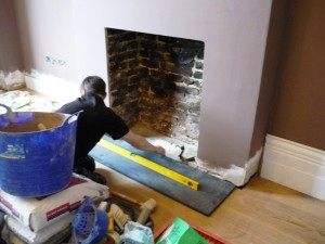 Removing existing fireplace before maida vale fireplace installation