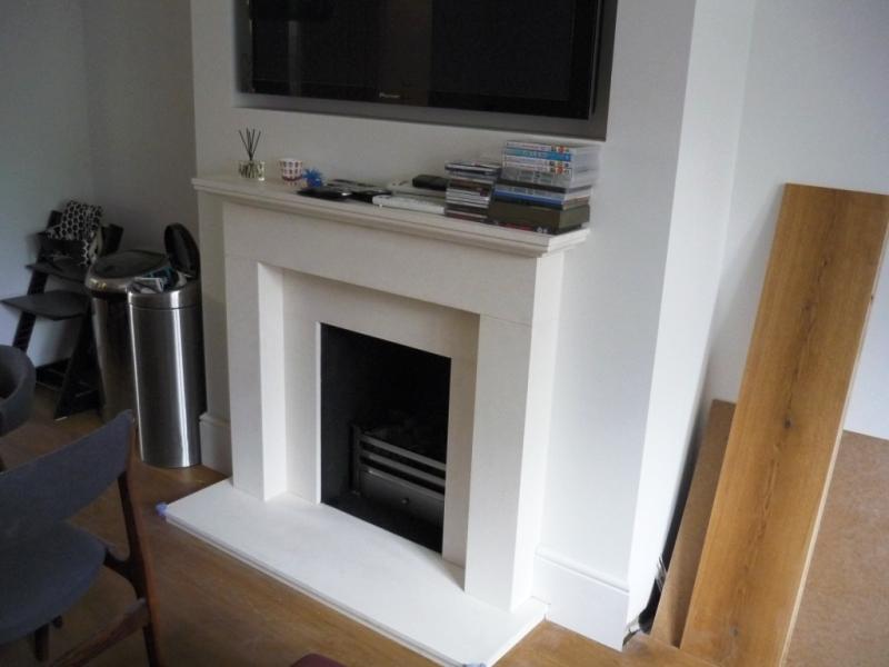 Limestone Fireplace With Polished Basket