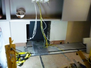 Installation of exhausto fan flue system and gas fire