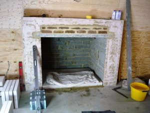 Making way for stone fireplace in Chobham