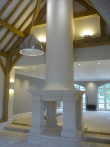 Bathstone fireplace in barn conversion