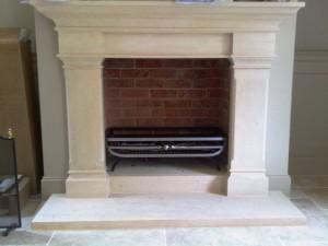 Beautiful Bathstone Fireplace and bespoke fire basket