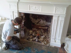 Removal of old fireplace