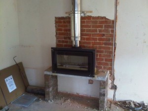 Stovax Studio 1 wood burning stove being installed