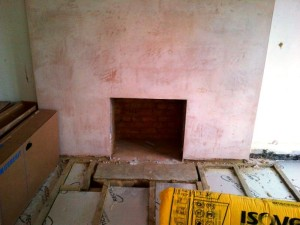 Before installing Fibonacci basket and stepped limestone fire surround