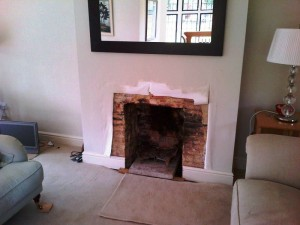 Limestone fireplace in Guildford: Original opening