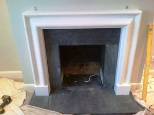 Limestone Bolection fireplace: Limestone surround completed