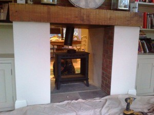 Stovax Stockton 8 Double Sided Stove being installed