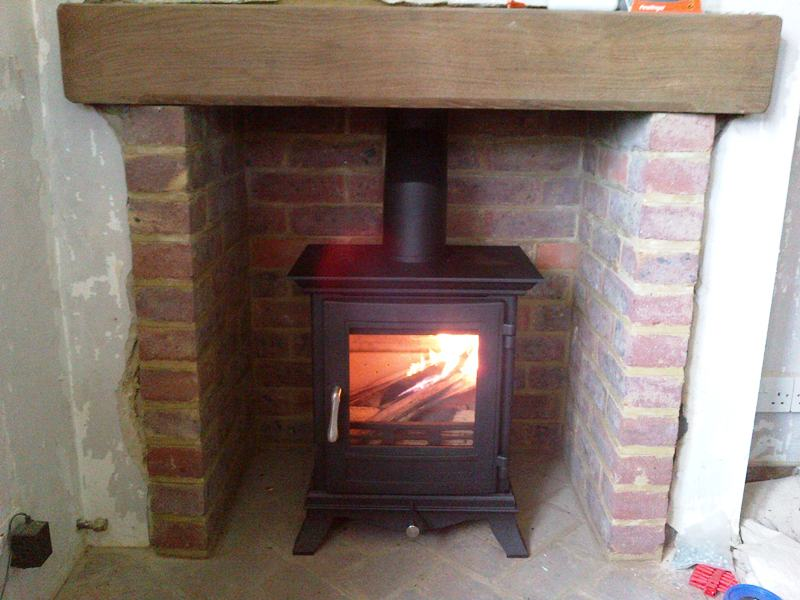 Small wood burning stove traditional style