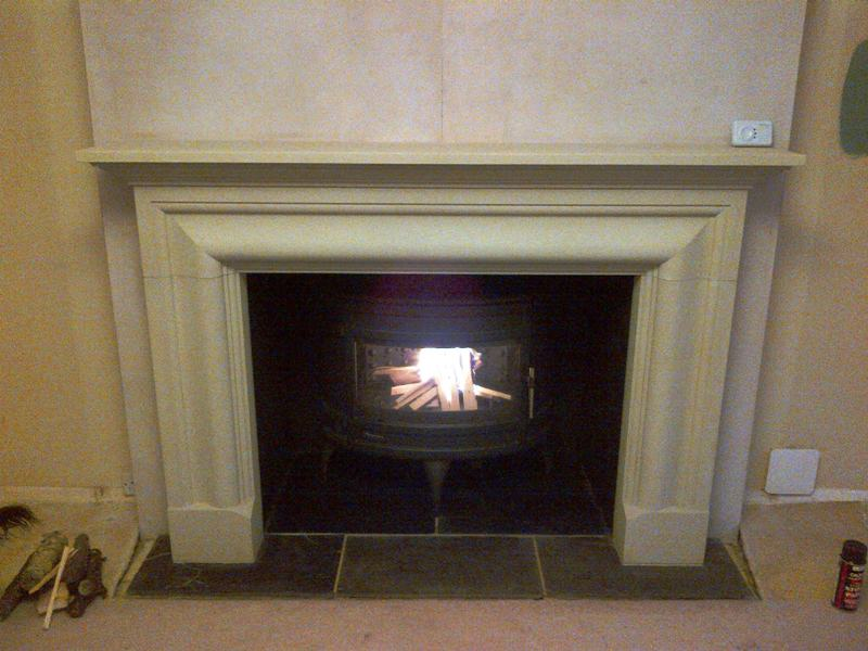 Rudloe stone fireplace and Invicta stove installation