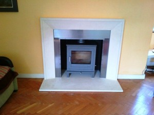 Metro fireplace and Shoreditch Stove by Chesneys with steel slips