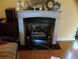Metro fireplace and Shoreditch Stove by Chesneys with steel slips - before