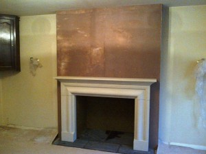 Installation of Rudloe stone mantel The Frazier