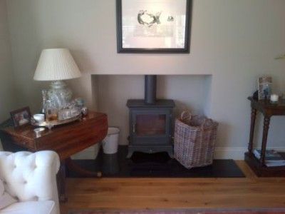Before the bespoke wooden mantel installation