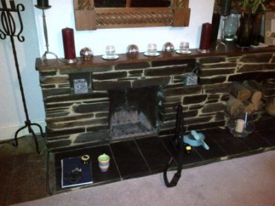 Before installation of the Shelburne stone fireplace