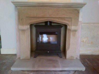 Chesneys Shelburne stone fireplace and 8kw Beaumont stove