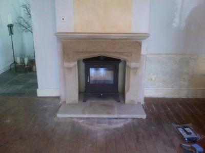 Chesneys Shelburne stone fireplace and Beaumont 8kw stove
