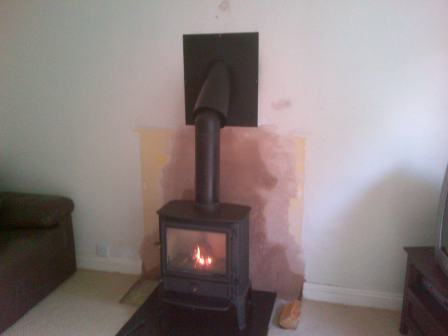 Brunel Stove Installation with Outside Twin Wall Flue System