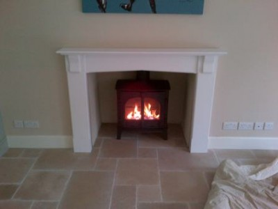 New wooden surround with Stovax Stockton 8 stove kitchen fireplace
