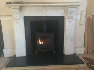 Beaumont stove in black 5kw installation in Balham