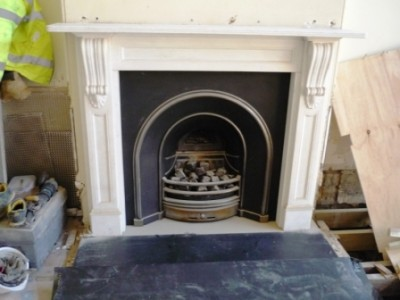 Existing fireplace before the installation of the Chesney's Salisbury stove