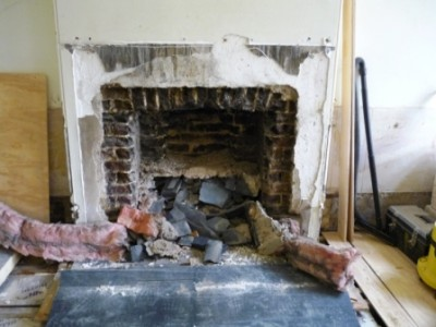 Fireplace removed before installing Chesney's Salisbury stove in ivory