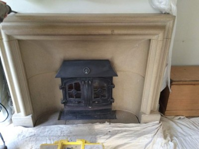 Original fireplace before removal