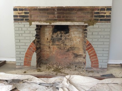 Fireplace work progressing