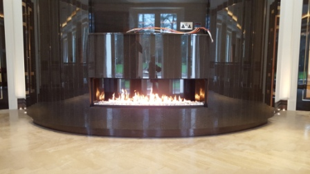 curved gas fireplace installation in Wentworth