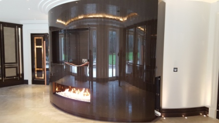 Incredible curved gas fireplace in Wentworth