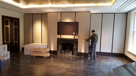 black marble fireplace installation in Wentworth