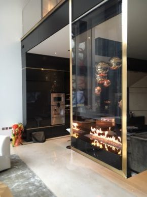 Glass contemporary fireplace designs and installation