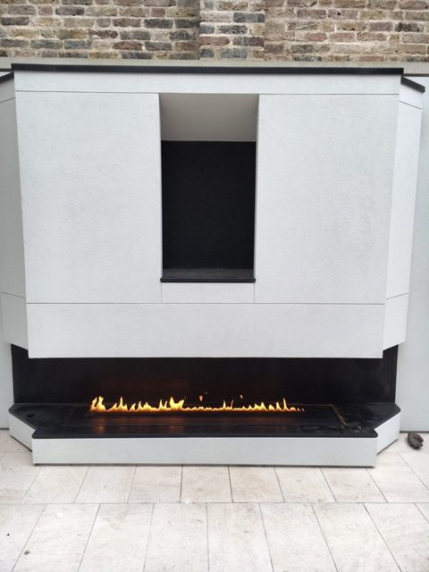 Contemporary outdoor fireplace from Holland